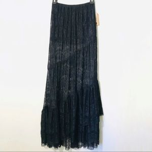 Billabong Black Lace Boho Maxi Skirt